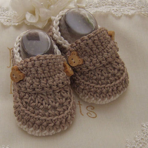 Handmade Baby Gift - Boys Crochet Shoes