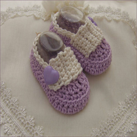Newborn Baby Girls 100% Cotton Handmade Crochet BootiesCShoes - Lavender Hearts