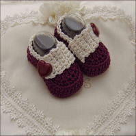 Newborn Baby Girls 100% Cotton Handmade Crochet Booties Shoes-Berries & Cream
