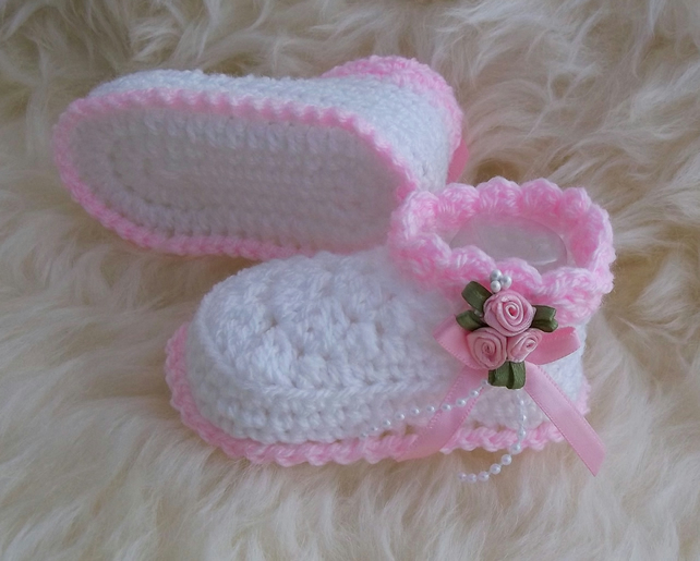 9fee004e4d523 Baby Booties - Girls Booties - 0-3 Months - Crochet Baby Bootees