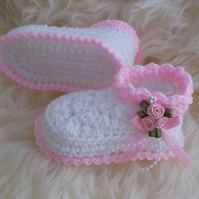 Baby Booties - Girls Booties - 0-3 Months - Crochet Baby Bootees