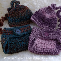 Handmade Babies Chunky Diaper & Hat Set - Great Photo Prop