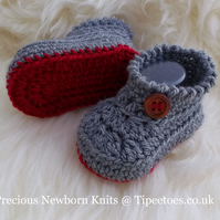 Crochet Bootees - Baby Boys  Booties - Hand Crochet Gift - 0-3 Months