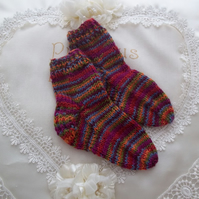 Hand Knitted Baby Wool Socks -  Handmade Gift 6-12 Months