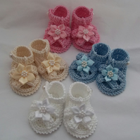 Crochet Baby Booties, Sandals, Shoes - 100% Cotton - Baby Gift - 0-3 Months