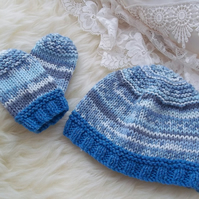 Hand Knitted Baby Hat & Mittens Set