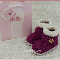 Baby Booties - Hand Knitted Baby Girls Raspberry Snug Bootees - 3-6 Months