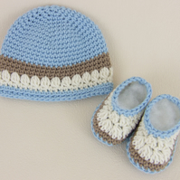Crochet Baby Hat & Booties for Early Born Baby Boy