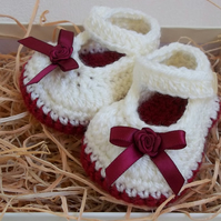 Baby Booties - Handmade Crochet Mary Jane Booties -Shoes- Size 3-6 Months