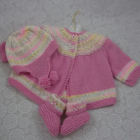 Knitted Baby Cardigan, Hat and Booties - Handmade - 0-6 Months - Baby Girl Gift