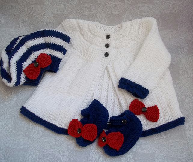 Hand Knitted Matinee Set for Baby Girls 'Vintage Style' with Modern Twist