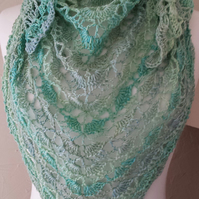 Womens Shawl - Muted Greens and Greys Triangular Crochet Wool Shawl -