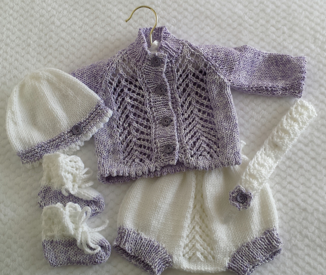Baby Girls Knitted Cardigan Set - Handmade Baby Gift - 0-3 Months