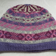 Knitted Hat - Fair Isle Beanie Hat - Girls Wool Beanie Hat - Handmade Luxury Hat