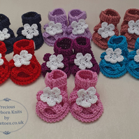 Baby Sandal Booties - Crochet Baby Girls Booties - Handmade Cotton Shoes -