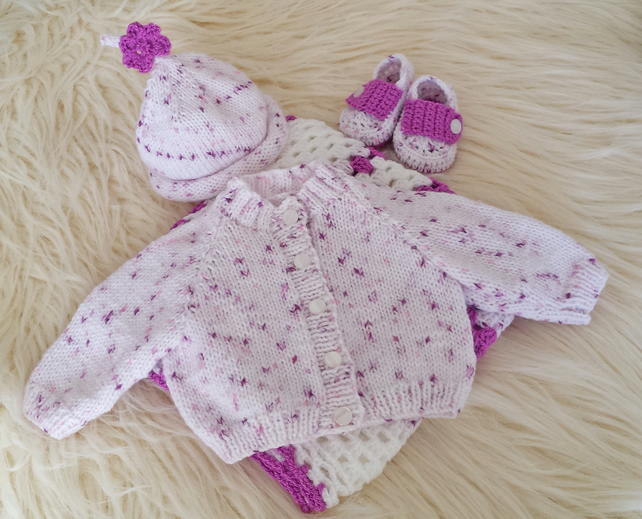 Baby Girls Handmade Knitted Cardigan & Hat with Crochet Blanket and Booties