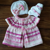Knitted Baby Set - Handmade - Girls Summer Cardigan, Hat & Booties 0-3 Months