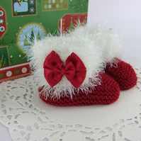 Christmas Booties - Hand Knitted Baby Xmas Gift - Santa Boots - First Christmas
