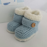 Baby Booties - Knitted Baby Boys Booties - Handmade Snug Bootees - 0-3 Months