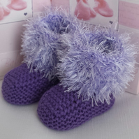 Baby Booties - Knitted Baby Girls Booties - Handmade Fur Bootees - 3-6  Months