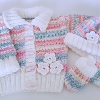 Knitted Baby Girl Clothes - Cardigan Hat Mittens - Handmade Baby Gift 0-6 Months