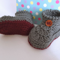 Baby Booties - Boys  Bootees - Crochet Baby Gift - 3-6 Months