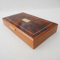 Handmade Wooden Earring Box - solid mahogany (reclaimed)