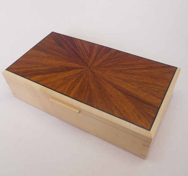 Handmade Wooden Jewellery Box in Sycamore and Rosewood- 5th anniversary gift.