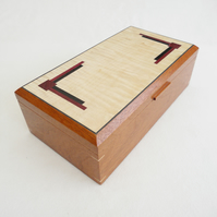 Handmade Wooden Art Deco style Jewellery Box in reclaimed solid mahogany.