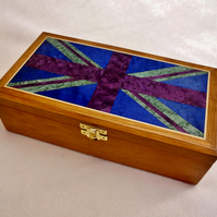 Handmade Cherry veneered woodenTrinket Box - Flag Design