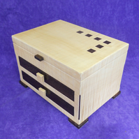 Handmade Art Deco Style Wooden Jewellery Box in Sycamore and Wenge
