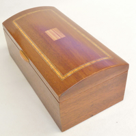 Handmade Wooden Inlaid Jewellery Box - Reclaimed Solid Mahogany