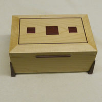 Handmade Art Deco style WoodenJewellery Box in Sycamore and Purpleheart