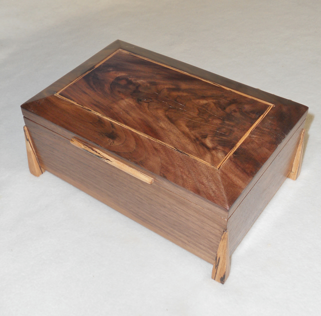 Handmade Wooden Jewellery Box in solid Walnut and spalted Beech