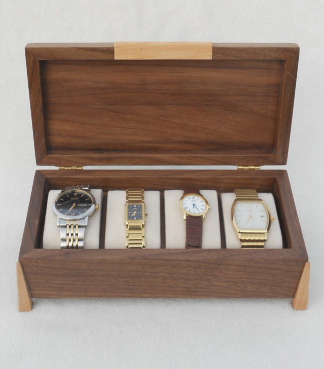 Handmade Wooden Watch Box - Solid Walnut
