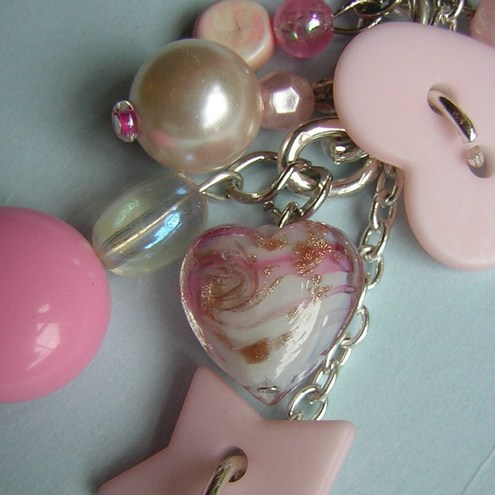 Pastel pink buttons/beads bag charm