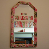 Overblown rose print decoupage mirror