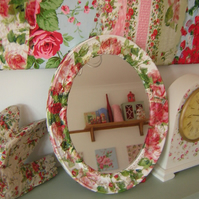 Shabby chic rose decoupage oval mirror