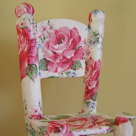 Decoupage wooden dolls chair/ornament