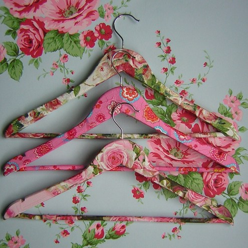Three shabby chic decoupage wooden coat hangers