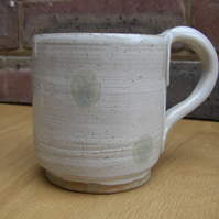 SALE!!! Hand Thrown Stoneware White and Green Spotty Mug