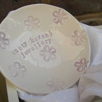 Personalised Flower Design Bits and Bobs Dish