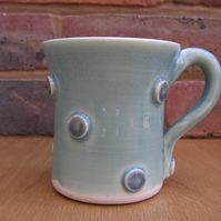 SALE!!!  Hand Thrown Turquoise, Blue and White Spotty Mug