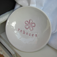 Flower Design Personalised Ceramic Dish