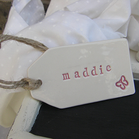 Personalised Butterfly Design Ceramic Gift Tag