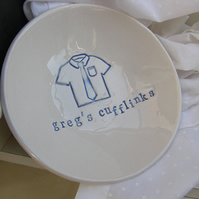 Personalised Shirt and Tie Design Ceramic Dish