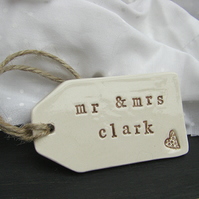 Personalised Heart Design Ceramic Gift Tag