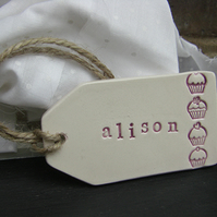 Personalised Cupcake Design Ceramic Gift Tag