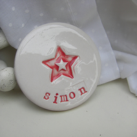 Personalised Star Design Round Ceramic Magnet