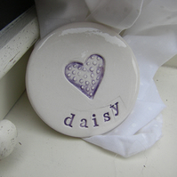 Personalised Heart Design Round Ceramic Magnet